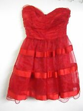 ARK & CO. JUNIORS/LADIES SIZE SMALL RED TULLE SKIRT PROM FORMAL DRESS SATINY