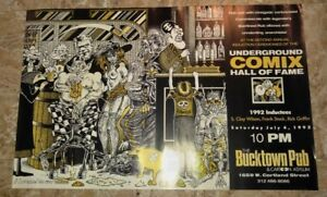 """1992 UNDERGROUND COMIX Hall of Fame Poster 22x14"""" FVF 7.0 S Clay Wilson Griffin"""