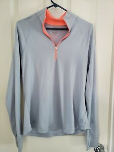 Old Navy Active Women's Size Large Light weight 1/4 Zip Semi-Fitted Gray/Coral