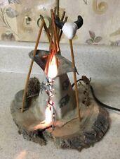 Handmade NATIVE AMERICAN INDIAN TEEPEE TABLE LAMP NIGHT LIGHT Buffalo