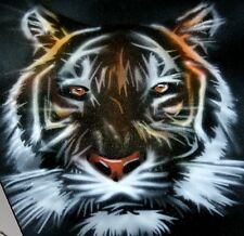 NEW!  TIGER HEAD Airbrushed Black T-shirt design, Any size up to 6X