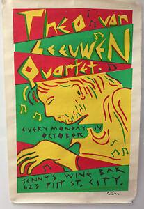 THEO VAN LEEUWEN QUARTET at JENNY'S WINE BAR - ORIGINAL PROMO POSTER (1980's?)