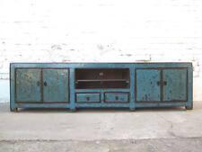 China cyanblaue TV Kommode Lowboard für Flachbildschirm heavy used vintage Look