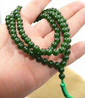 Natural 6mm stone Buddhist Dark emerald 108 Prayer Beads Mala Bracelet Necklace