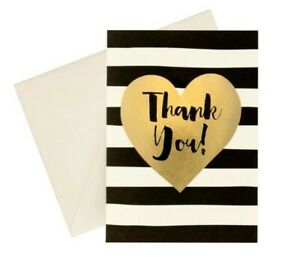 Greenroom Recycled Gold Heart Thank You Cards Black and White Stripe 24CT - NEW