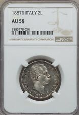 ITALY UMBERTO I 1887 2 LIRE SILVER COIN, ALMOST UNCIRCULATED CERTIFIED NGC AU-58