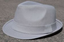 Premium Cotton Twill Men's Trilby Short Brim Causal Summer Fedora Hat Light Gray