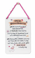 Special Granddaughter Inspired Words Tin Hanging Plaque Sentimental Gift Range
