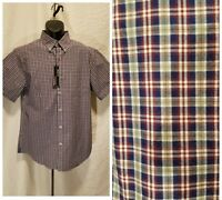 Roundtree&Yorke Men's Size L Large Blue Green Plaid Short Sleeve Slim Fit Shirt