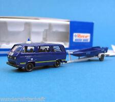ROCO h0 1730 Set VW t3 + RIMORCHIO BARCA Zille THW assistenza tecnica opera 1:87 PCS