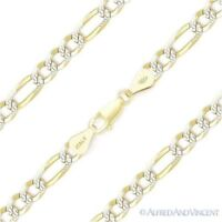 5mm Figaro Pave Link .925 Sterling Silver & 14k Yellow Gold Italy Chain Bracelet