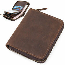 Men's Brown Leather Small Wallet Slim Purse Credit Card Holder Zip Around Pocket