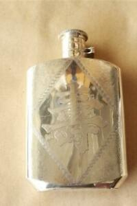 Antique Vintage Coin Silver Hip Flask Chinese Longevity Character 176 grams