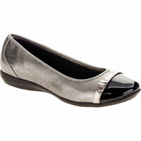 Faded Glory Womens Casual Silver / Black Shoes W/ Buckle Size 8