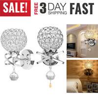 LED Modern Crystal Small Wall Lamp Sconce Light Bedroom Bedside Hallway Lighting