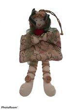 Vtg Handmade Fabric Cloth Shelf Sitter Doll Rose Ornament Primitive Folk Art