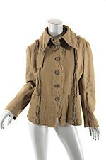 RUNDHOLZ Cognac Wool Cotton Blend Felted Jacket w/Removable Hood  Sz L  NICE