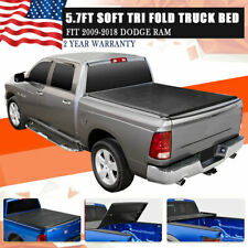 For 2018 Dodge Ram 09-2017 5.7' Leather Soft Tri-Fold Tonneau Bed Cover