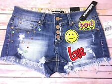 NWT Dollhouse Sienna 70's Patch Denim Cut Off Shorts Blue Lake Button Fly Size 7