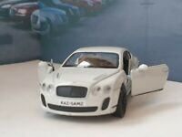 PERSONALISED BENTLEY CONTINENTAL WHITE 1.38 MODEL CAR PRESENT GIFT NEW BOYS TOYS