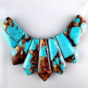 7pcs/lot blue Turquoise & Gold Copper Bornite stone Pendant Bead 18*25*6-43*18*6