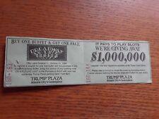 VINTAGE COMPLETE PARKING TICKET TRUMP PLAZA CASINO ATLANTIC CITY 9/16/1994