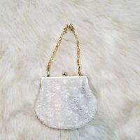 Vintage Beaded Kiss Lock Handbag EUC