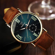 Fashion Men's Date Leather Stainless Steel Quartz Noctilucent Sport Wrist Watch