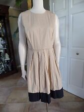 NWT TALBOTS Khaki & Black Fit & Flare Sheath Dress 12P