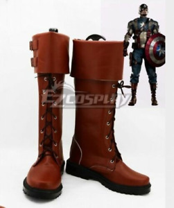 Captain America The Winter Soldier Paratroopers Brown Shoes Cosplay Boots