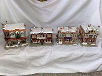 Lot of 4 Hawthorne Village Denver Broncos Christmas Village NFL Hotel Shop