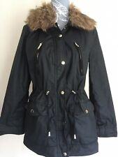 Ladies Zip Up Black Parker Style Jacket Coat Size 12 By Miss Selfridge