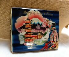 Vintage Blue Enamel Memory of Japan & Korea Cigarette Case Mt Fuji Kimono