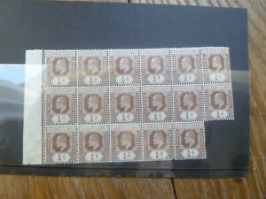 block of 17 Edward VII Leeward Islands 1/4d stamps.