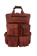 Leather Backpack Bag 17 In Laptop Rucksack Office College Books Shoulder Handbag