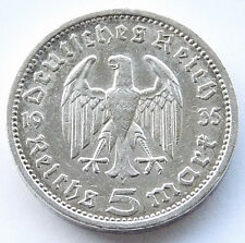 NICE GERMAN Coin 5 MARK REICHSMARK 1935 A EAGLE HINDENBURG Silver 3RD Nazi WWII