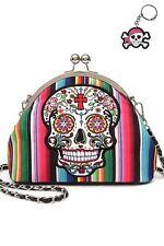 Sugar Skull Cross Flower Kiss Latch Messenger Bag Purse + Charm Rainbow Black
