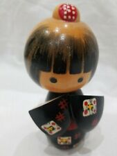 Wooden Japanese Doll Ornament in Kimino 5 inches tall and 3 inches wide