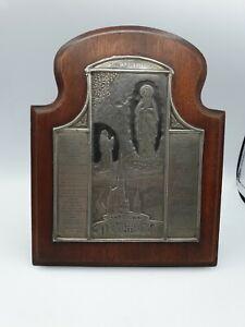 Antique Our Lady of LOURDES Engraved Silver Metal Saint Plaque