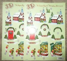 2 x 3D No Scissors Required Pre-Cut Christmas Street Design Decoupage A4 Sheets