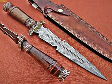 Union Knives Custom Hand Made Damascus Steel Hunting Fish Dagger Walnut Handle.