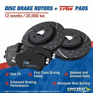 Rear Slotted Brake Rotors TRW Pads for Holden Commodore Clubsport VE VF WM