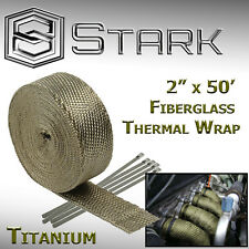 "2"" x 50FT Exhaust Header Fiberglass Heat Wrap Tape w/ 5 Steel Ties Titanium (F)"