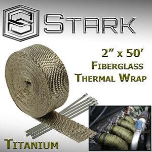 """2"""" x 50FT Exhaust Header Fiberglass Heat Wrap Tape w/ 5 Steel Ties Titanium (F)"""