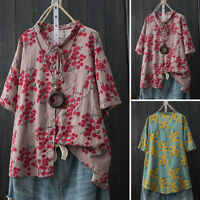 Women Frill Neck Buttons Down Shirt Tops Floral Print T-Shirt Tops Blouse Tee