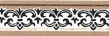 TRIMZ Vintage Taupe Brown Cream Blue Scroll Fleur De Lis Small Wall paper Border