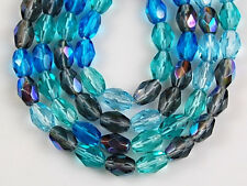 50 Mix Oval Faceted Gray Aqua Czech Fire Polished Loose Glass Craft Beads 4x6mm