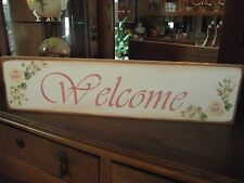 WELCOME     HP Shabby Roses  Cottage Chic Primitive Wood Sign