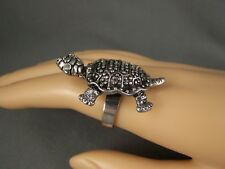 turtle ring antiqued Silver turtle tortoise big cocktail statement adjustable