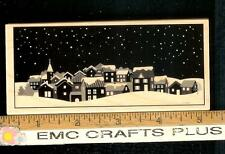 HERO ARTS CRAFTS WINTER TOWN WOOD MOUNTED  RUBBER STAMP~
